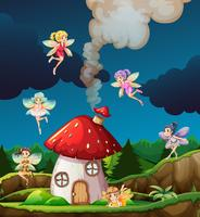 Fairy at mushroon house vector