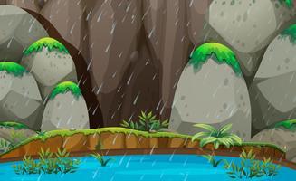Naturlandskap regnar scenen