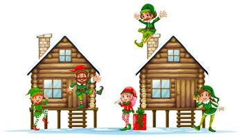 Many elves on the wooden cabins