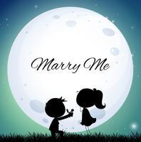 Pareja de amor que propone matrimonio en la noche de luna llena
