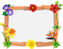 Frame template with many flowers vector