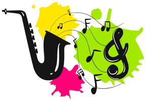 Silhouette saxophone with music notes