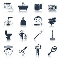 Hygiene Icons Black vector