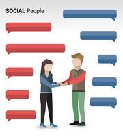 Social people print vector