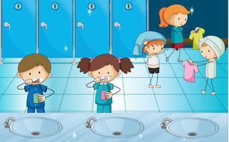 Crianças, escovar, dentes, e, obtendo, vestido, em, vestiário