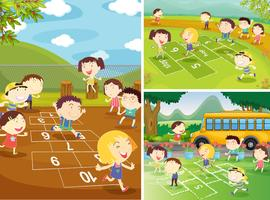 Escenas de juegos con niños jugando a la rayuela.