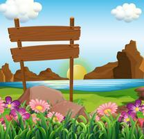 Escena con carteles de madera junto al lago.