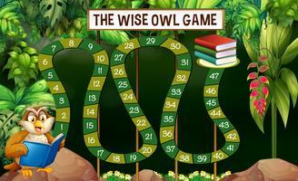 Spelmall med owl läsning bok i djungeln