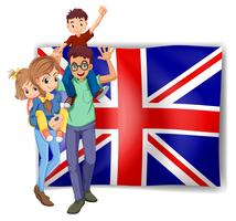 British family and flag in background