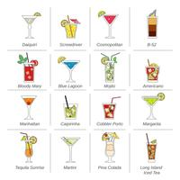 Alcohol Cocktails Icons Flat Line