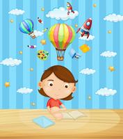 Little girl reading book on table vector