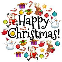 Tarjeta de feliz navidad con santa y adornos