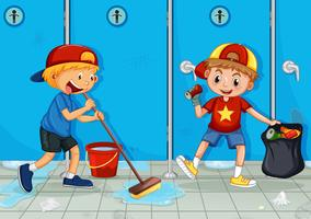 Two Kids Help Cleaning Toilet vector