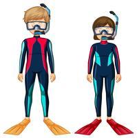 Uomo e donna in attrezzatura subacquea