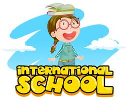 International school poster design with girl and books