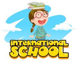 Disegno di poster di scuola internazionale con ragazza e libri