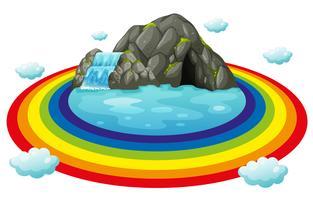 Grotta och regnbåge