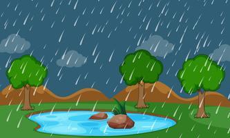 Una escena lloviendo de la naturaleza.