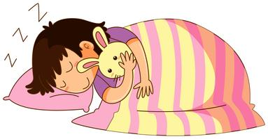 Little kid in bed with bunny doll