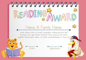 Reading award template with animals reading books
