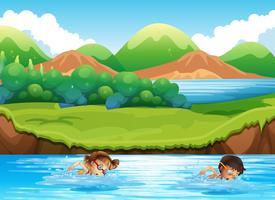 Menino menina, natação, em, natureza