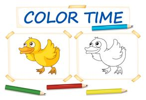 Color paper template with little duck