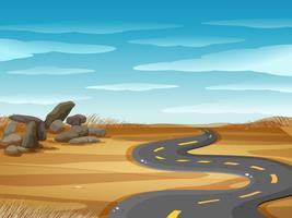 Scene with empty road in desert ground