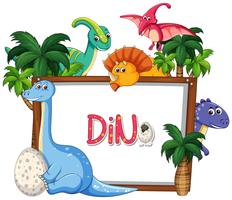 Veel dinosaurus frame sjabloon vector