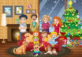 Grande família reunindo no dia de Natal