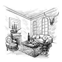 Fondo de dibujo de la habitación