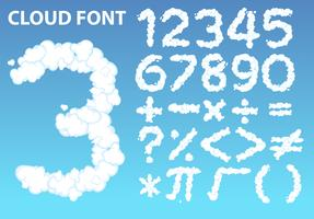 Cloud number font and math icon