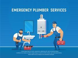 Entretien de la tuyauterie et de la chaudière par deux plombiers.