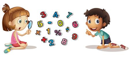 Boy and girl looking at numbers
