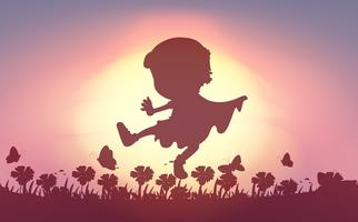Silhouette of boy playing in the field vector