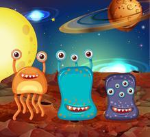 Tres extraterrestres en la luna