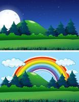 Twee bosscènes dag en nacht