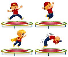 Boy jumping on red trampoline