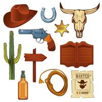 Colorful wild west elements set.