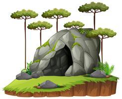 Cena, com, caverna, e, árvores