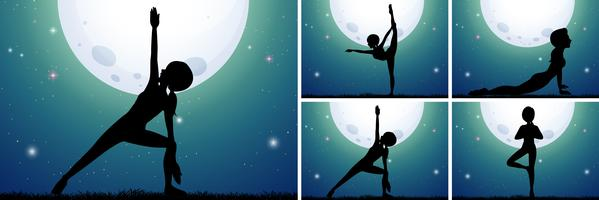 A Set of Midnight Yoga vector