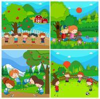 Quatre scènes avec des enfants dans un parc