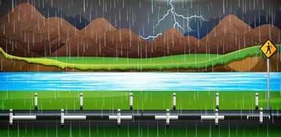 Escena de fondo con lluvia en la carretera