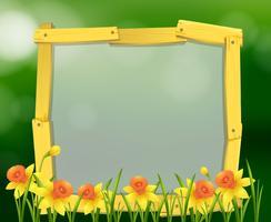 Diseño de marco de madera con flores amarillas. vector