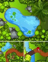 Tres escenas del parque con estanques y árboles.