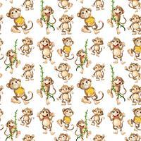 Happy monkey seamless pattern