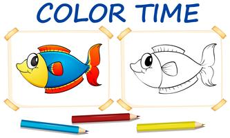 Modèle de coloration avec poisson mignon