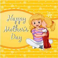 Carte de fête des mères heureuse avec fille embrassant maman