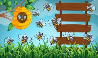 Många bin som flyger i trädgården med skyltar