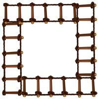 Diseño de marco con escalera de madera.