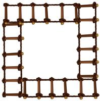Rahmenkonstruktion mit Holzleiter
